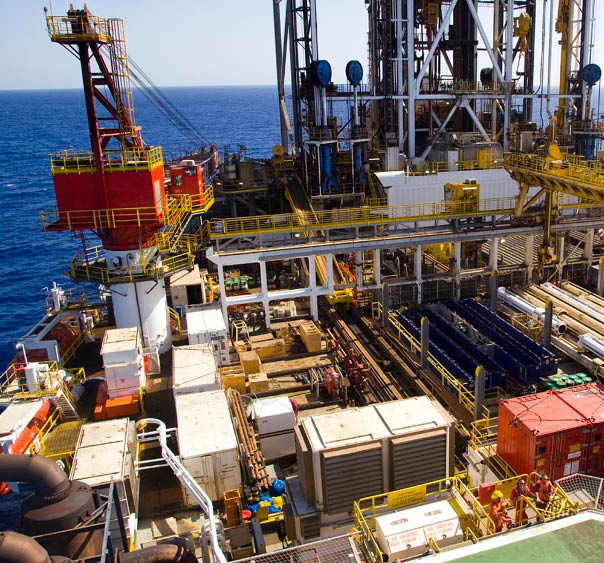 On-deck photo of the Sedco Express drilling raft