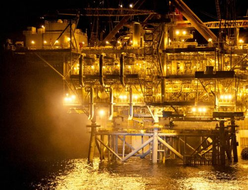 A night-time view of the Tamar Platform installation