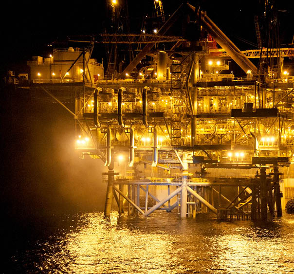 A night-time view of the Tamar Platform installation December 2012 (photo credit: Albatross)