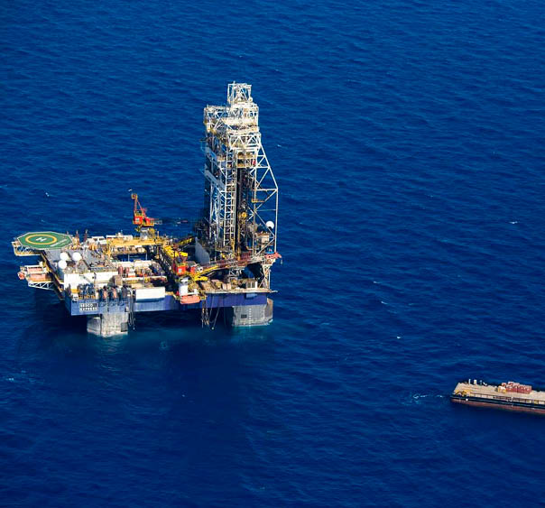 Aerial photo of the Sedco Express drilling raft