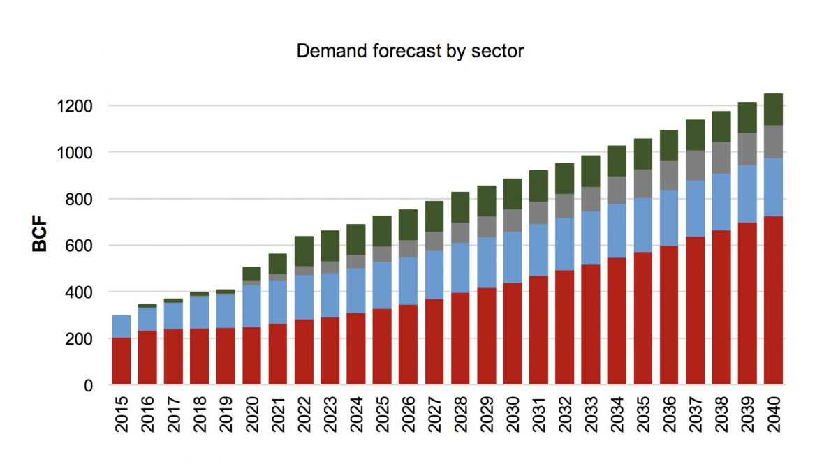 GAS DEMAND FORECAST* 2015-2040 In BCF